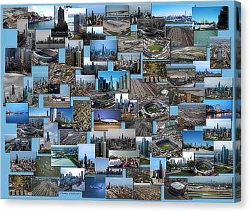 Coller Canvas Print - Chicago Aerial Collage Rectangle by Thomas Woolworth