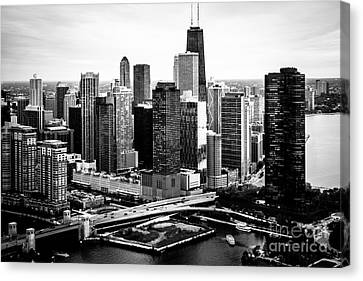 Chicago Aerial Picture Of Streeterville In Black And White Canvas Print by Paul Velgos