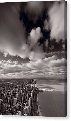 Chicago Aloft Bw Canvas Print by Steve Gadomski