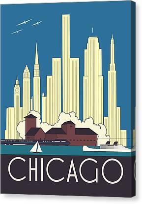 Chicago Art Deco Skyline Canvas Print by Josef Spalenka