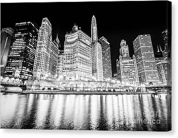 Chicago At Night Black And White Picture Canvas Print by Paul Velgos