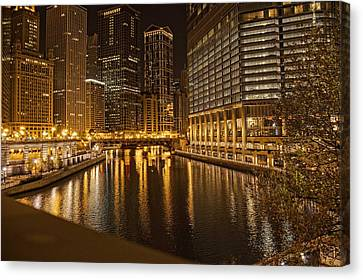 Chicago At Night Canvas Print by Daniel Sheldon