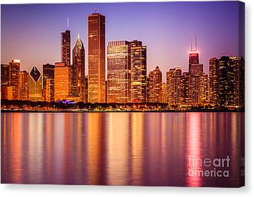 Chicago At Night Downtown City Lakefront Canvas Print by Paul Velgos