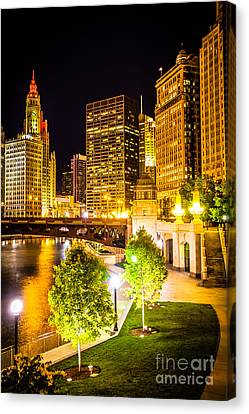 Chicago At Night Picture Canvas Print by Paul Velgos