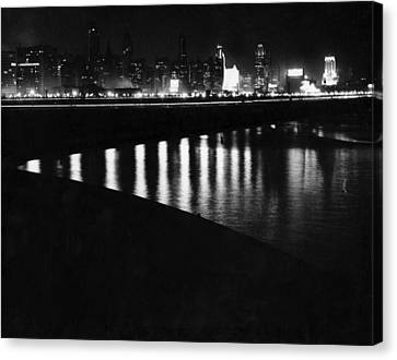 Chicago River Canvas Print - Chicago At Night by Underwood Archives