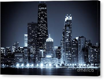 Chicago At Night With Hancock Building Canvas Print by Paul Velgos