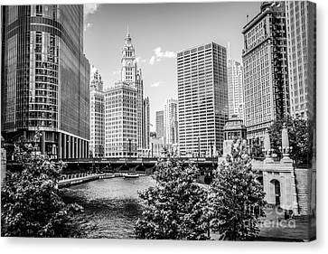 Chicago At Wabash Bridge Black And White Picture Canvas Print by Paul Velgos