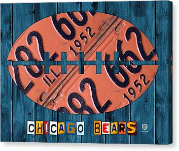 Chicago Bears Football Recycled License Plate Art Canvas Print by Design Turnpike