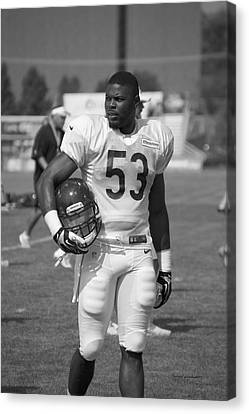 Chicago Bears Lb Jerry Franklin Training Camp 2014 Bw Canvas Print by Thomas Woolworth