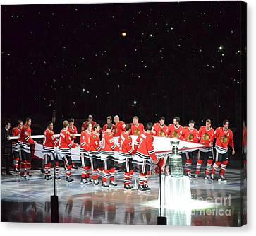 Canvas Print featuring the photograph Chicago Blackhawks And The Banner by Melissa Goodrich