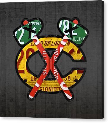Chicago Blackhawks Hockey Team Retro Logo Vintage Recycled Illinois License Plate Art Canvas Print by Design Turnpike