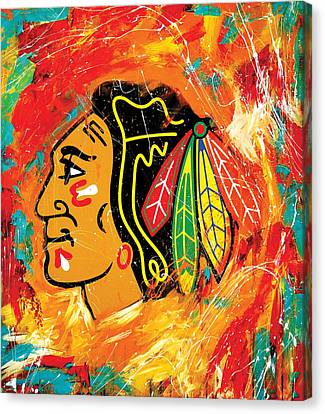 Hockey Canvas Print - Chicago Blackhawks Logo by Elliott From