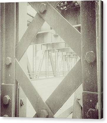 Chicago Bridge Ironwork Vintage Photo Canvas Print by Paul Velgos