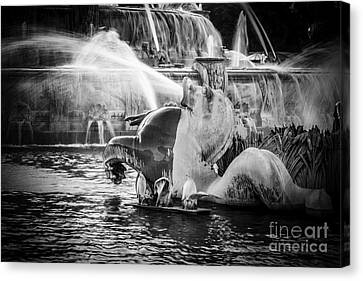 Chicago Buckingham Fountain Seahorse In Black And White Canvas Print by Paul Velgos