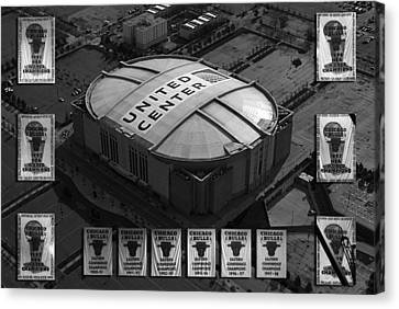 Chicago Bulls Banners In Black And White Canvas Print by Thomas Woolworth