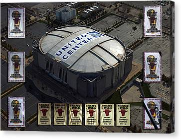 Chicago Bulls Banners Canvas Print by Thomas Woolworth