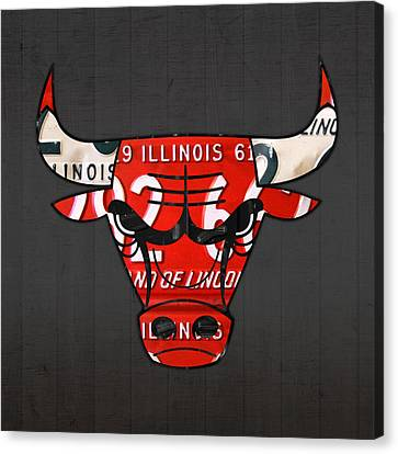 Chicago Bulls Basketball Team Retro Logo Vintage Recycled Illinois License Plate Art Canvas Print by Design Turnpike