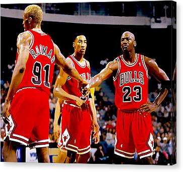 Patrick Ewing Canvas Print - Chicago Bulls Big 3 by Brian Reaves