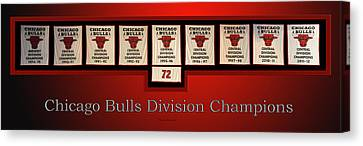 Bulls Canvas Print - Chicago Bulls Division Champions Banners by Thomas Woolworth