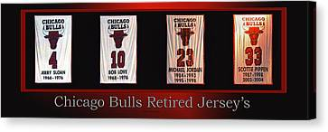 Bulls Canvas Print - Chicago Bulls Retired Jerseys Banners by Thomas Woolworth