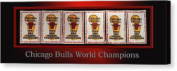 Chicago Bulls World Champions Banners Canvas Print by Thomas Woolworth