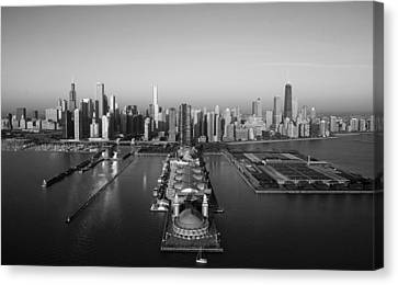 Chicago By Air Bw Canvas Print by Jeff Lewis