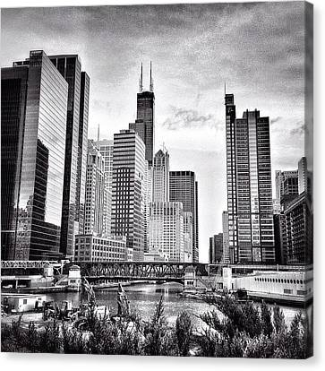 Chicago River Buildings Black And White Photo Canvas Print by Paul Velgos