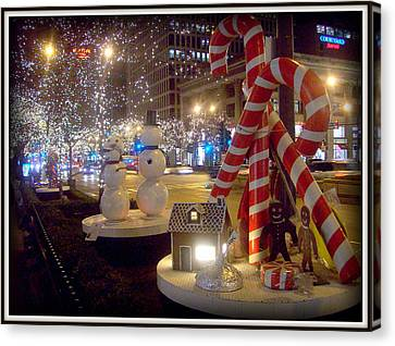 Chicago Christmas Candy Canes Canvas Print
