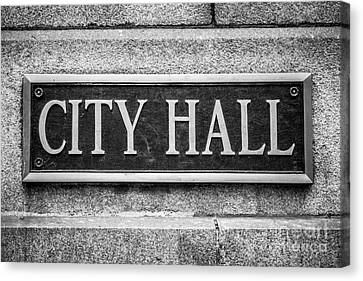 Chicago City Hall Sign In Black And White Canvas Print by Paul Velgos
