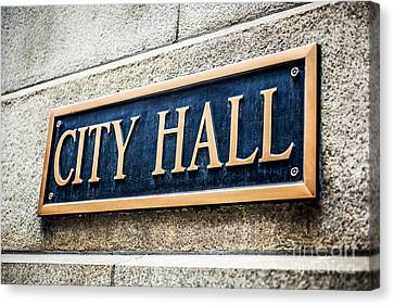 Chicago City Hall Sign Canvas Print by Paul Velgos