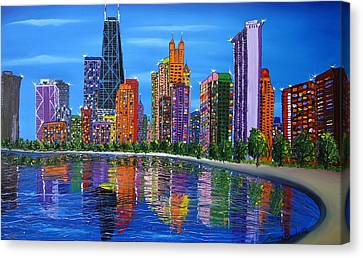 Chicago City Lights #1 Canvas Print by Portland Art Creations