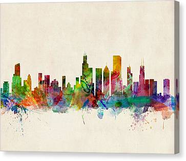 Illinois Canvas Print - Chicago City Skyline by Michael Tompsett