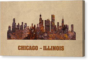Chicago City Skyline Rusty Metal Shape On Canvas Canvas Print