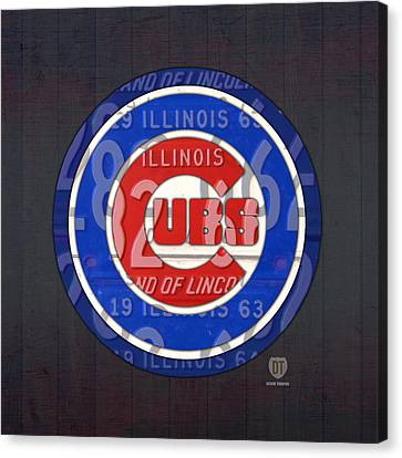 Chicago Cubs Baseball Team Retro Vintage Logo License Plate Art Canvas Print by Design Turnpike