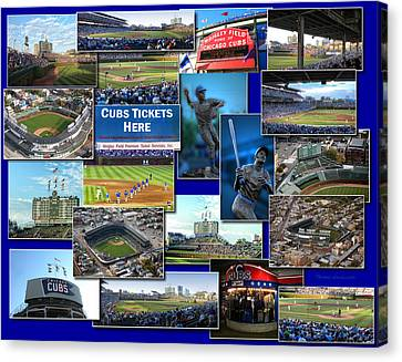 Chicago Cubs Collage Canvas Print by Thomas Woolworth