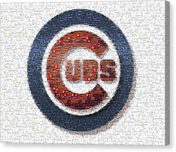Cubs Canvas Print - Chicago Cubs Mosaic by David Bearden