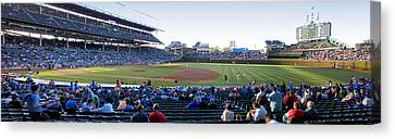 Chicago Cubs Pregame Time Panorama Canvas Print by Thomas Woolworth