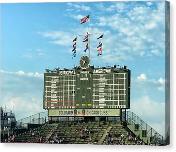 Chicago Cubs Scoreboard 02 Canvas Print by Thomas Woolworth