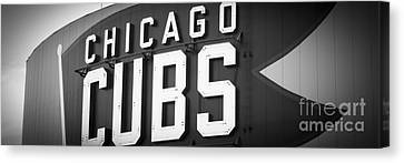 Ballpark Canvas Print - Chicago Cubs Sign Panoramic Picture by Paul Velgos