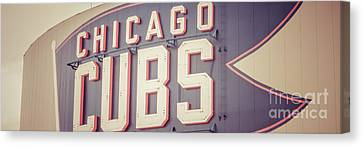 Chicago Cubs Sign Vintage Panoramic Picture Canvas Print by Paul Velgos