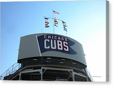 Chicago Cubs Signage Canvas Print by Thomas Woolworth