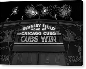 Chicago Cubs Win Fireworks Night B W Canvas Print by Steve Gadomski