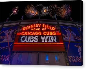 National League Canvas Print - Chicago Cubs Win Fireworks Night by Steve Gadomski