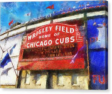 Chicago Cubs Wrigley Field Marquee Photo Art 02 Canvas Print by Thomas Woolworth