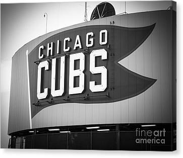 Baseball Fields Canvas Print - Chicago Cubs Wrigley Field Sign Black And White Picture by Paul Velgos