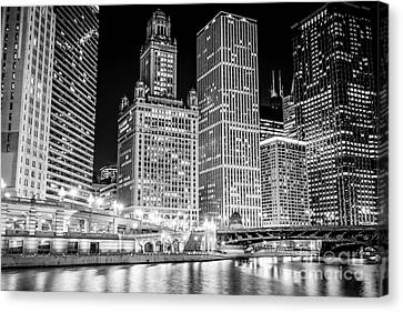 Chicago River Canvas Print - Chicago Downtown At Night Black And White Picture by Paul Velgos