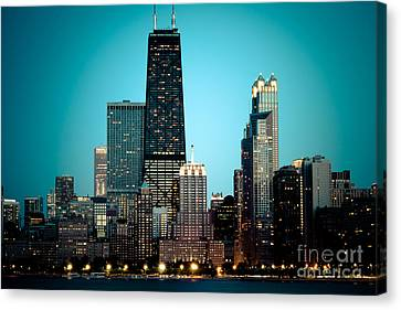 Chicago Downtown At Night With Hancock Building Canvas Print by Paul Velgos
