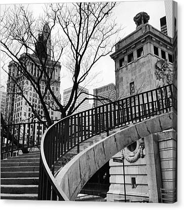 Chicago Staircase Black And White Picture Canvas Print by Paul Velgos