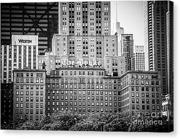 Drake Canvas Print - Chicago Drake Hotel In Black And White by Paul Velgos
