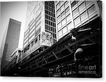 Chicago Elevated L Train In Black And White Canvas Print by Paul Velgos